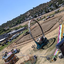 Corral/lawnmower race track at fairgrounds