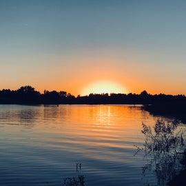 Sun going down while fishing.