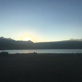 Sunset over upper blue lake