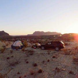 Site 3 looking south at Bofecillos Mountains during sunset