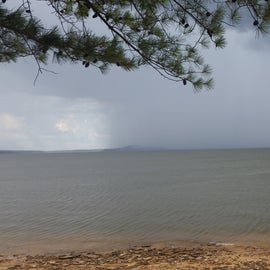 Storm brewing out on lake.