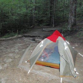 Many individual places to set up your tent but consider walking further to discover more choices.