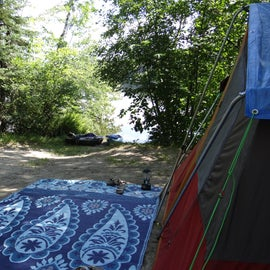 a waterfront campsite
