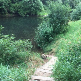 Stairs down to river