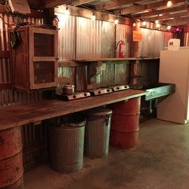 open air communcal kitchen area