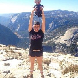 Half Dome summit with Yosemite Valley one mile below