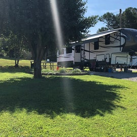 This is my RV at my site. Just showing how beautiful and well maintained the grounds are.