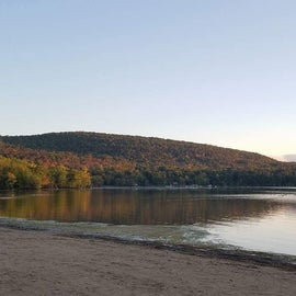View of the northern tip of Otsego Lake from the camping area of Glimmerglass State Park. We camped in our teardrop trailer when we had this view.