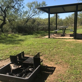 Each campsite in the improved section of camp offers a picnic shelter to keep you from the element in the heat of Texas or the sporadic rains, in addition to a grill located just a few feet away.