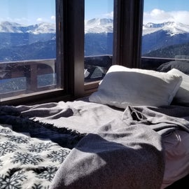 The twin bed and views from the upper floor