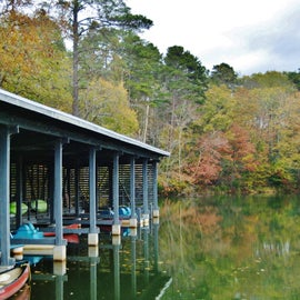 This is the boat house at the lake in which you can rent canoes and paddle boats.