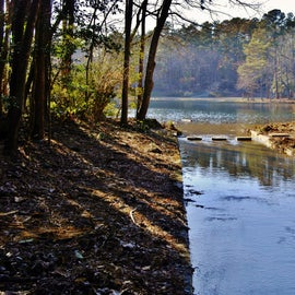 One of the trails takes across the spillway from the lake.