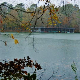 The newest trail at the Cliffs of the Neuse State Park takes you around the lake and gives you a view of the boat house.