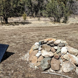 The monster fire pit found in our campsite!