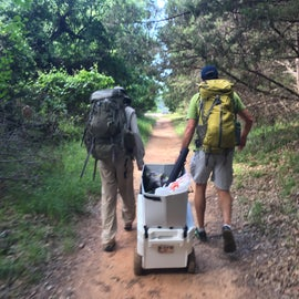 Pulling the RovR RollR 60 cooler down the trail