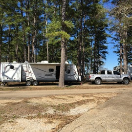 our Jayco 32TSBH setup in a nice pull-through site.