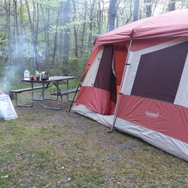 Our site, 8 person tent, picnic table,  fire ring w/ grill
