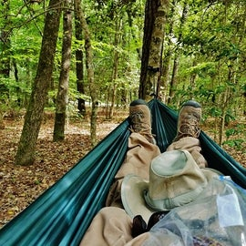 I chose to stay in a hammock instead of a tent, but you need plenty of insect repellent!!!!!!!