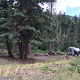 A more traditional campsite by the river.