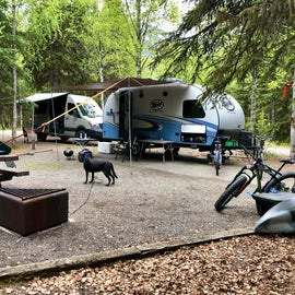 typical single campsite, Sprinter, R Pod and truck all easily fit.
