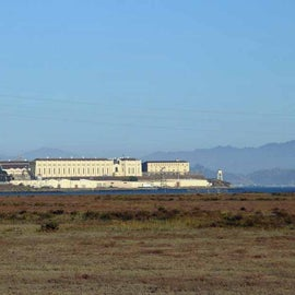 This is a view from the front of our RV - San Quentin across the bay.