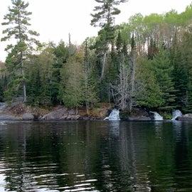Raging river converting to waterfalls