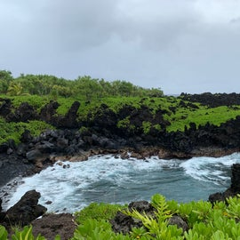 a black sand beach viewed from one of the hiking trails