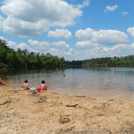 Beach swimming area in campground itself
