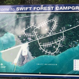 Campground map -- Several sites have direct access to the reservoir