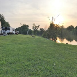 Many sites are along the river.  Opposite direction of this picture they continue around the bend to some of the cabins