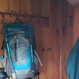 multiple pegs for packs and jackets