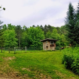 The chicken coop from the deck of the house.