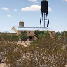 Old and new water towers in Columbus, New Mexico