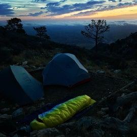 Guadalupe Peak Campsite at dawn