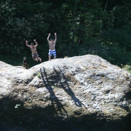 The boys cliff diving. Not really a cliff, but still fun!