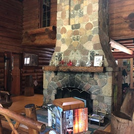 The fireplace inside the visitor center at the Norway beach recreation area inside the Chippewa national forest