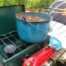 Using the old vintage Canadian Coleman stove to boil crawfish Cajun style from Cass Lake Minnesota