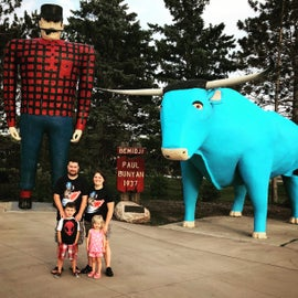 Paul Bunyan and Babe the blue ox statue inside the Bemidji Minnesota