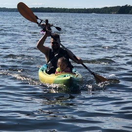 Kayaking on Cass Lake off the beach at Norway recreation area in the Chippewa national forest