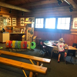 The kids play area inside the visitor center at the Norway beach recreation area inside the Chippewa national forest