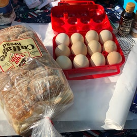 Getting all the ingredients together to make a campfire French toast
