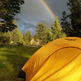 Double rainbow over camp