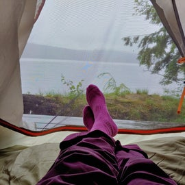 Water view from the tent.