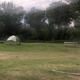 One lonely tent camper