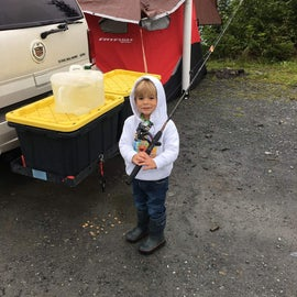 Ready to fish for some salmon on the rainy morning.