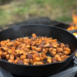 Cooking breakfast at our KOA site.
