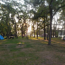This was our first night there and we were taking a walk around the grounds. The lake is just beyond the trees here. And to the right, there is a designated swim area and boat launch.