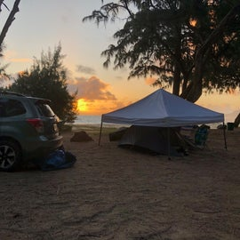 Gorgeous sunset! It did rain at night, poured, so good thing we had the canopy so low. Saved us with wind and rain. See how close we are to the ocean!!