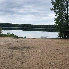 The beach. Weed free sandy bottom. Shallow