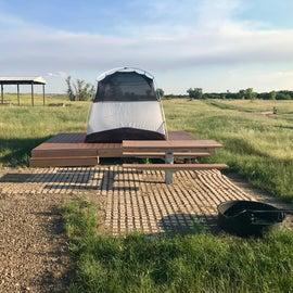 Smaller tent on a platform